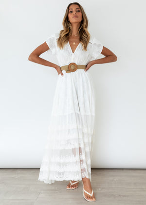 Changing Hearts Maxi Dress - White Anglaise