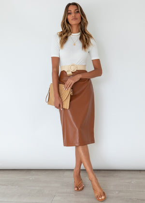 Jana Pu Midi Skirt - Tan