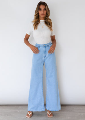 Naomi Wide Leg Jeans - Light Blue