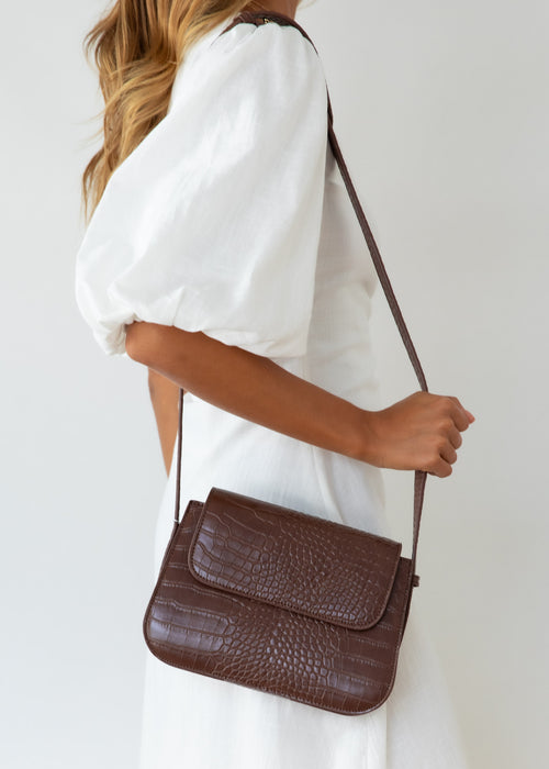 Goldie Bag - Chocolate Croc