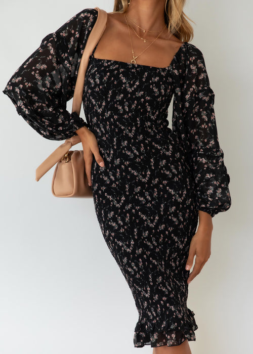 Norah Midi Dress - Black Floral