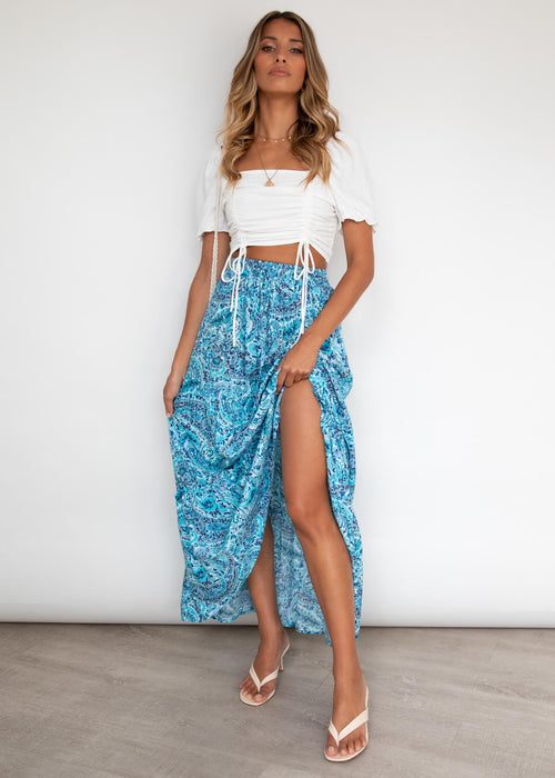 Waverly Maxi Skirt - Azure Paisley