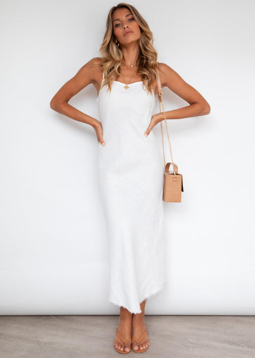 Ruka Linen Midi Dress - Off White