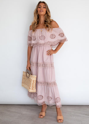 Roscoe Off Shoulder Maxi Dress - Blush