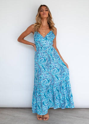 Zelma Maxi Dress - Azure Paisley