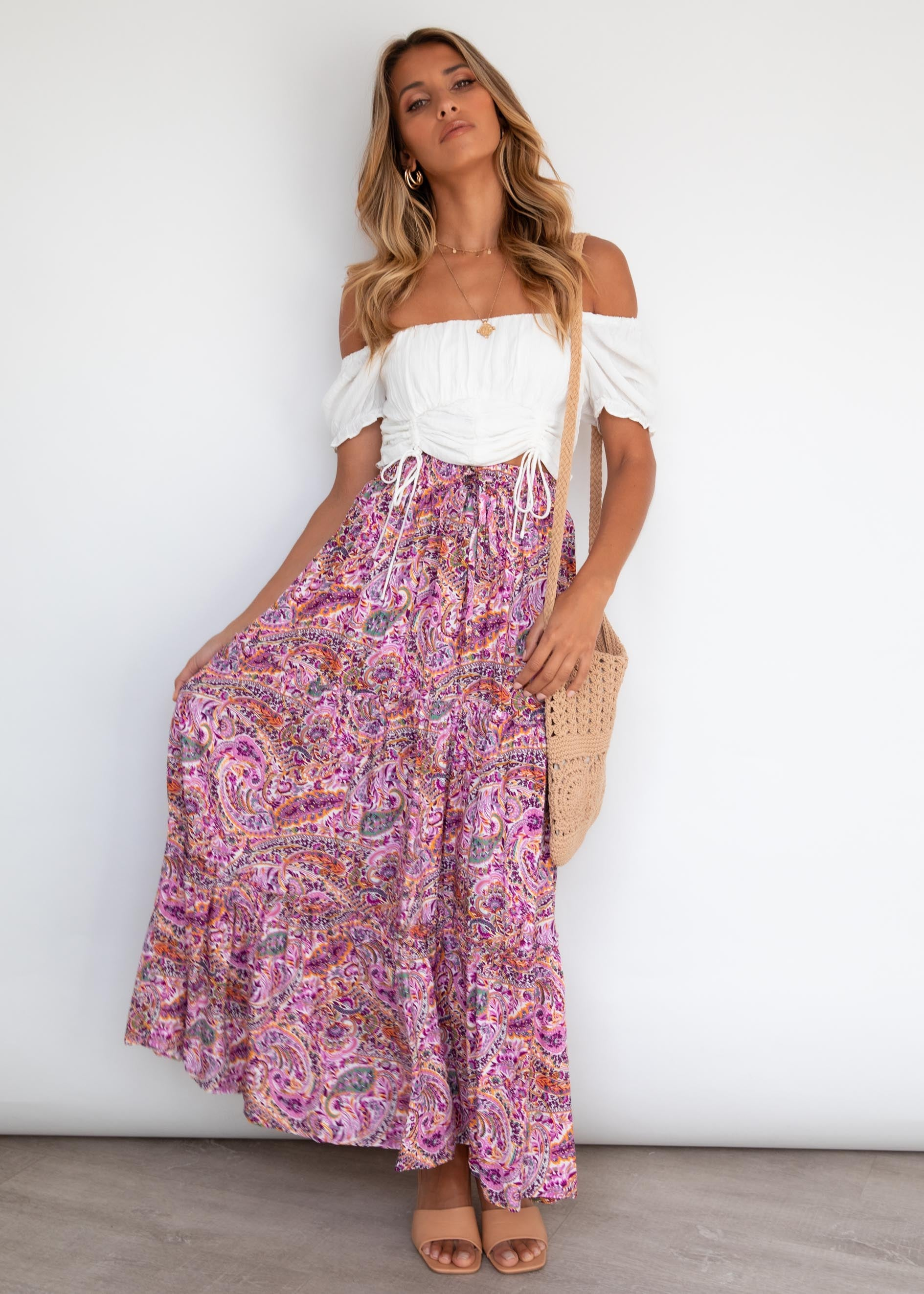 Waverly Maxi Skirt - Lilac Paisley