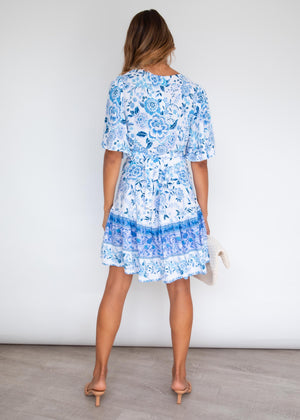 Compromises Wrap Dress - Sky Romance