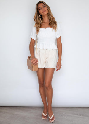 Tayer Crop Blouse - Off White