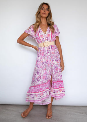 Wild Maiden Midi Dress - Harper Pink