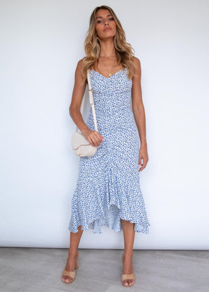 Tillie Ruched Midi Dress - Blue Floral