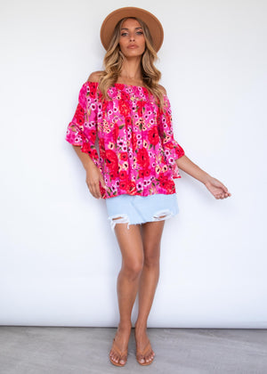 Say Hello Off Shoulder Blouse - Rose Romance