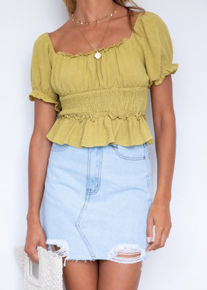 Tayer Crop Blouse - Pistachio