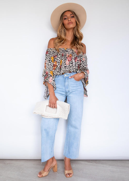 Say Hello Off Shoulder Blouse - Leopard Floral