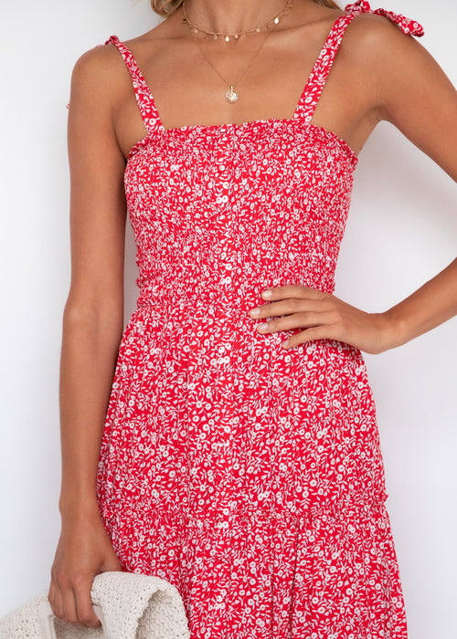 Love Like Ours Midi Dress - Red Floral