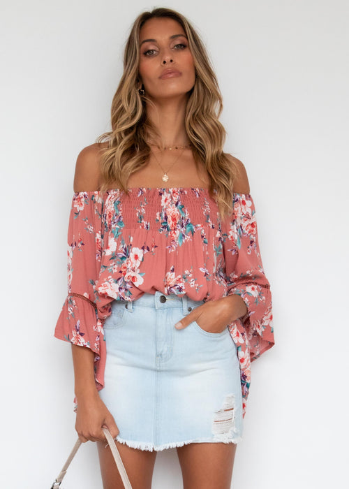 Say Hello Off Shoulder Blouse - Floral Punch