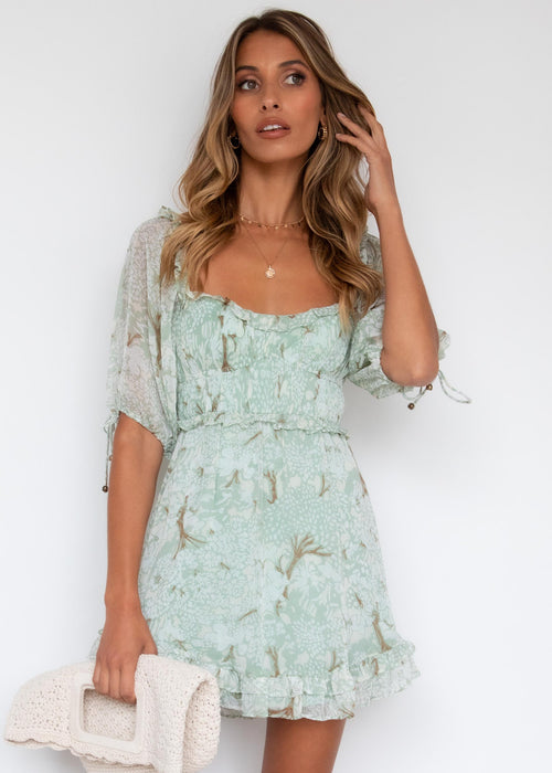 Feeling Lucky Dress - Sage Floral