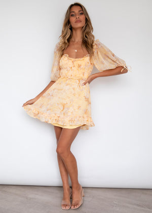 Feeling Lucky Dress - Yellow Floral