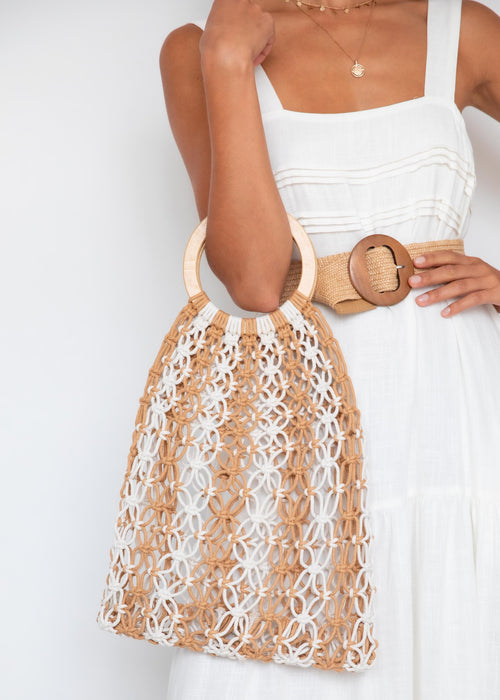 Eira Macrame Bag - Tan/Cream