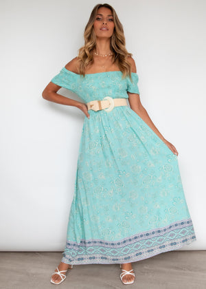 Jocelin Off The Shoulder Maxi Dress - Teal Paisley