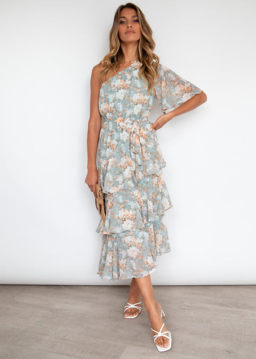 Yuki One Shoulder Midi Dress - Blue Floral