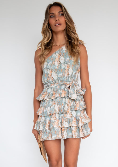 Topaz One Shoulder Dress - Blue Floral