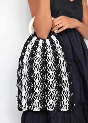 Eira Macrame Bag - Black/Cream