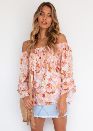 Carsyn Off Shoulder Top - Vintage Pink
