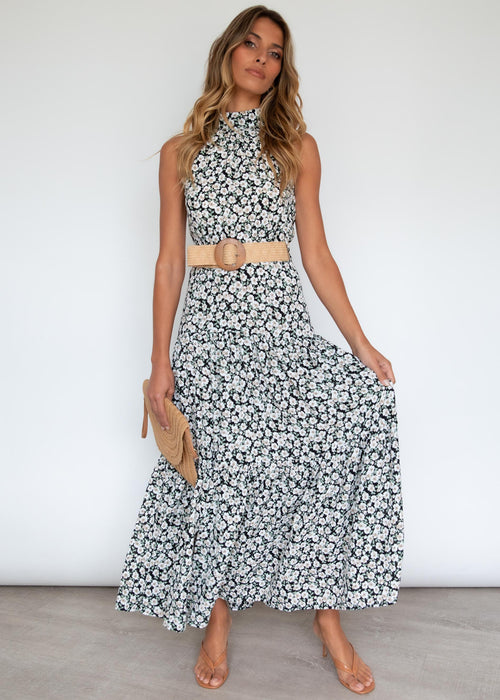 Katrina Maxi Dress - Black Poppies