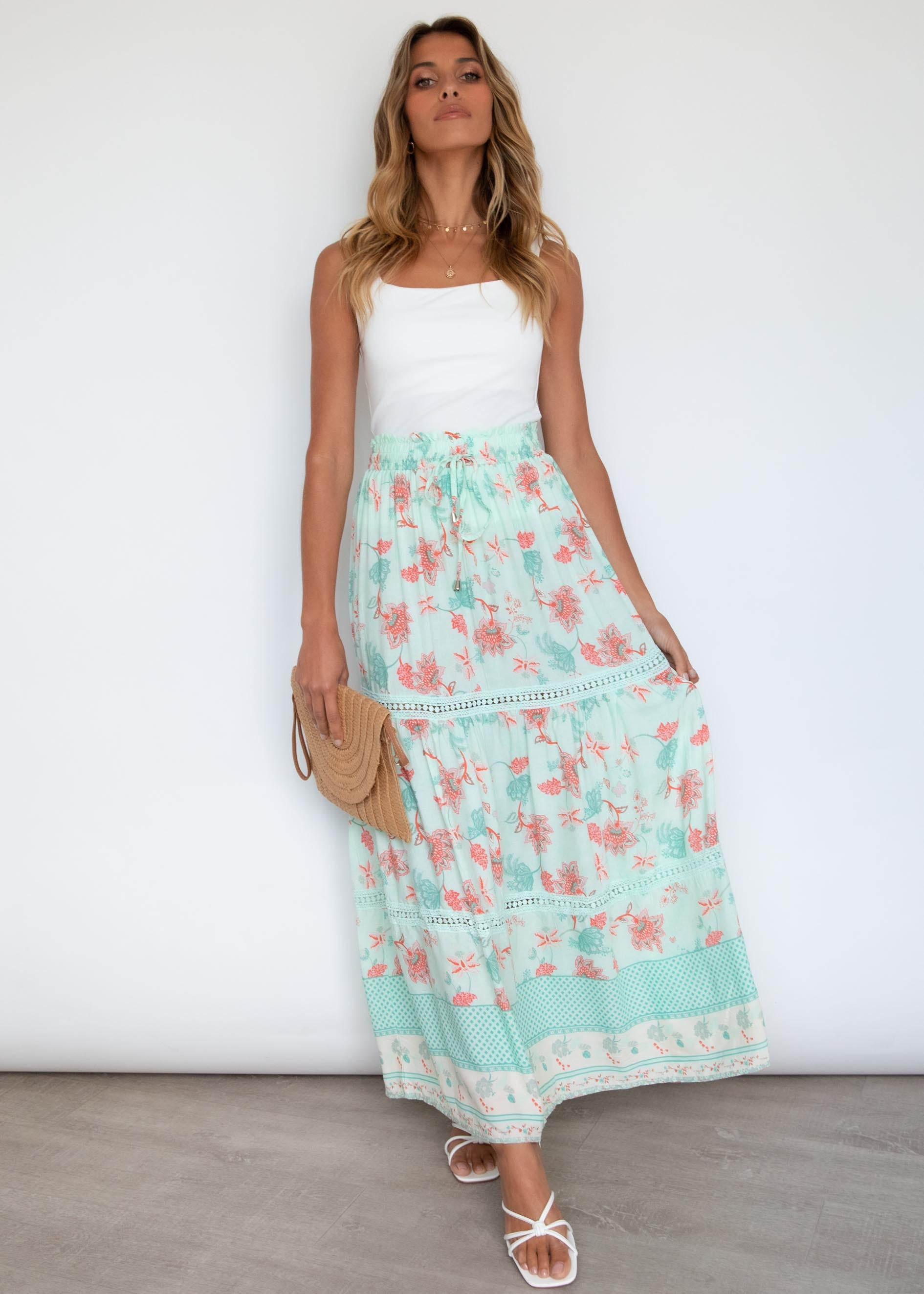 Stellanna Maxi Skirt - Mint Floral