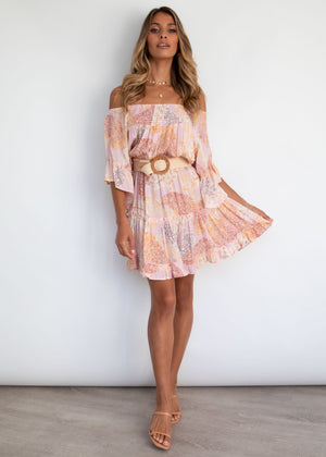 Pandora Off Shoulder Dress - Blush Dreams