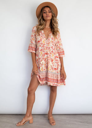 Aubrielle Smock Dress - Blush Paisley