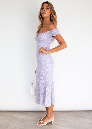 Kezie Midi Dress - Lilac Floral