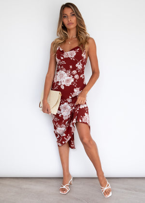 Sunset Fling Midi Dress - Burgundy Roses