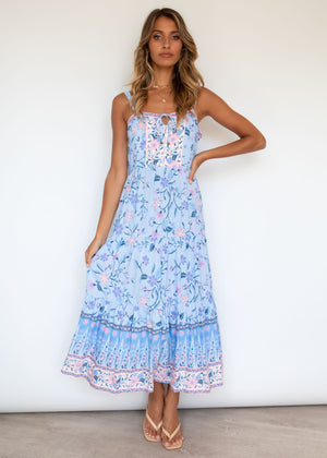 My Ties Midi Dress - Sky Floral