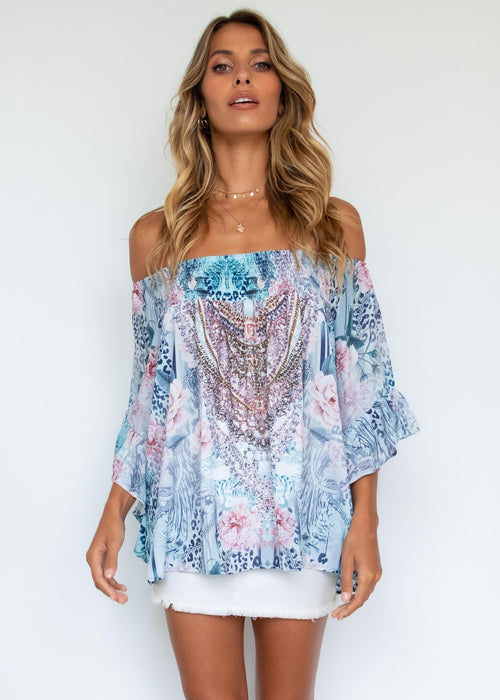 Shreya Off The Shoulder Blouse - Sky Roses
