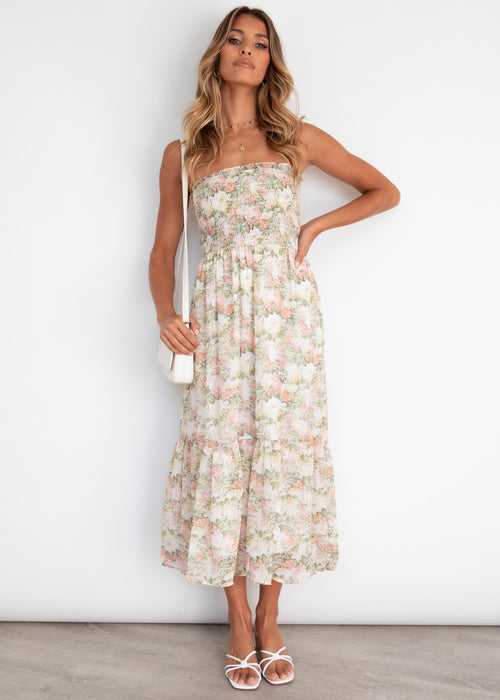 Avalee Strapless Midi Dress - Mint Garden