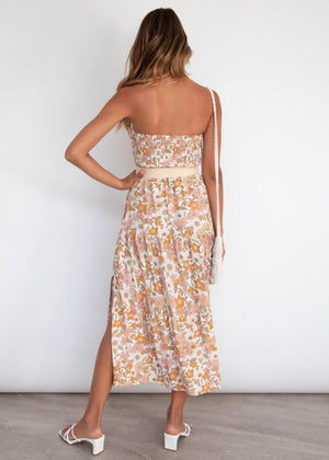 Analeigh Strapless Midi Dress - Vintage Floral