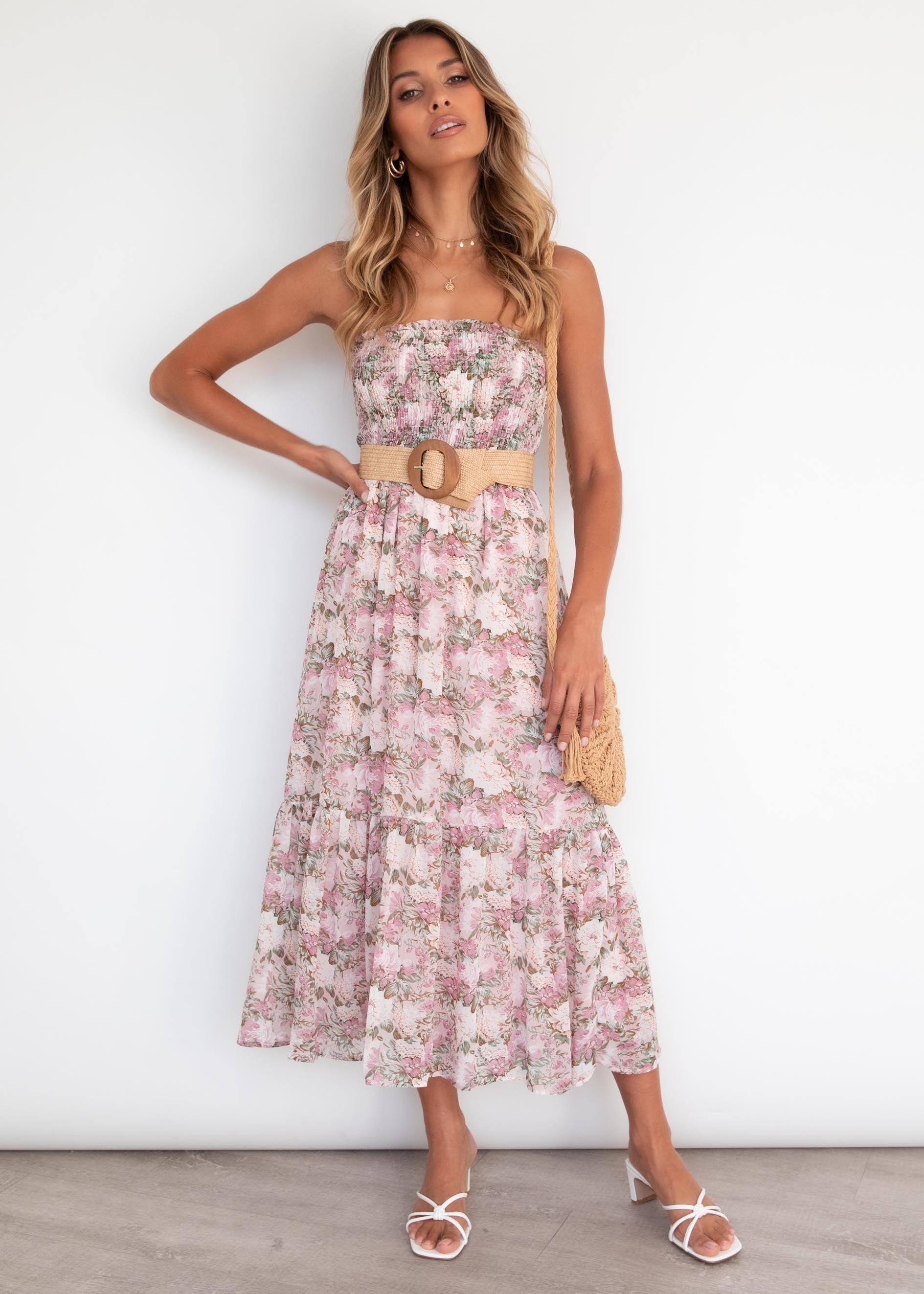 Avalee Strapless Midi Dress - Blush Garden