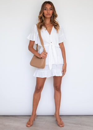Brodie Tie Dress - White
