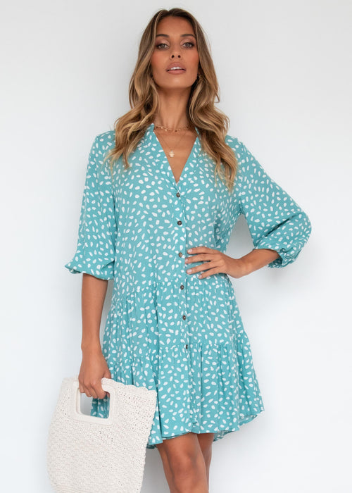 Lenorah Smock Dress - Turquoise Speck