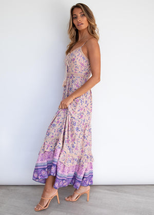 Valley Dreams Midi Dress - Lavender Fields