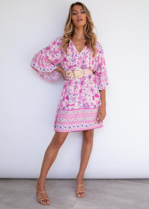 Hayleigh Smock Dress - Bubblegum