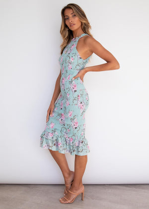 Gracen Midi Dress - Mint Floral
