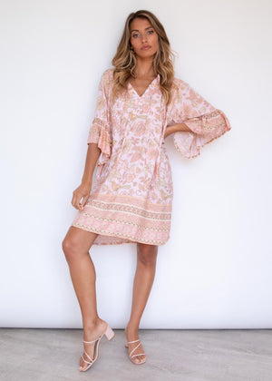 Hayleigh Smock Dress - Peach Dreams
