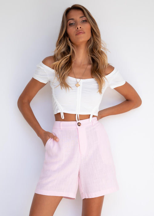 Navaeh Linen Shorts - Blush