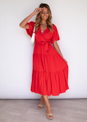 Cupid Midi Dress - Scarlet