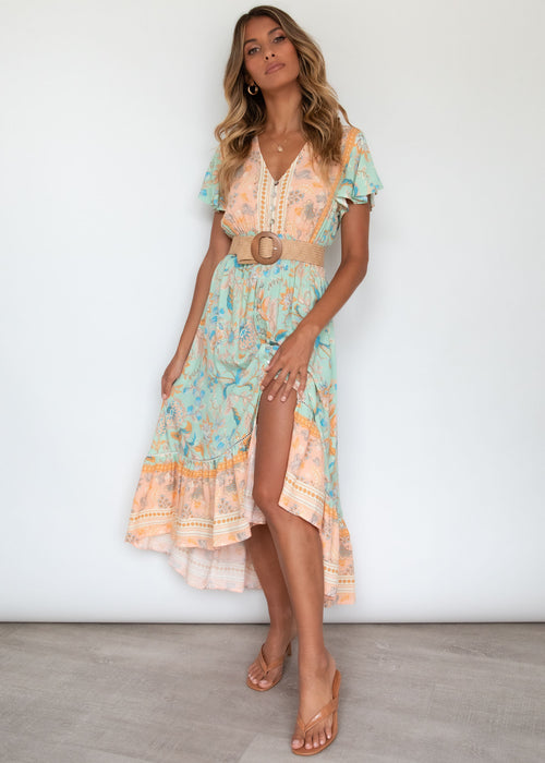 Wild Maiden Midi Dress - Honeydew
