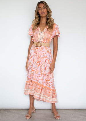 Wild Maiden Midi Dress - Coral Kisses