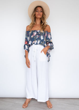 Say Hello Off Shoulder Blouse - Midnight Garden