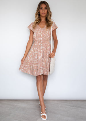 Edon Swing Dress - Mocha Polka